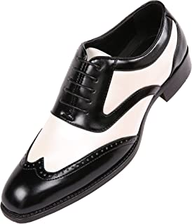 Bolano Mens Lawson Shiny Metallic Satin Two-Tone Wing Tip Lace up Brogue Oxford Dress Shoe Trimmed with Black Smooth