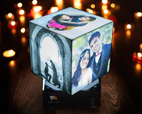 Zoci Voci Cube Rotating Photo Lamp Best Personalised Anniversary Birthday Gift Customised Wedding Gift for Couples Picture Gift Personalised Lamp 4 star product with 45 plus reviews