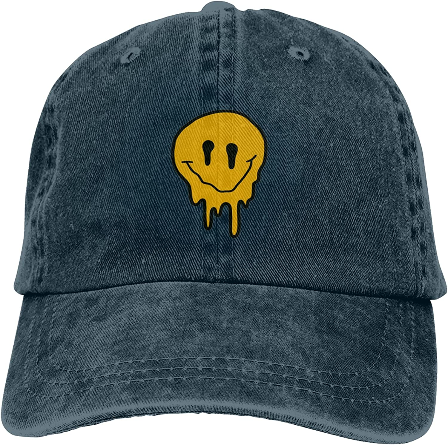 Yellow Drippy Smiley Face Men Women Adult Classic Baseball Cap Washed Denim Adjustable hat