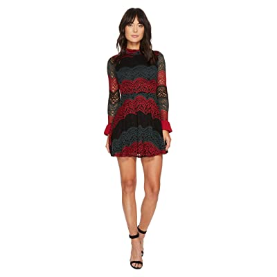 ROMEO & JULIET COUTURE High Neck All Over Lace Dress (Burgundy) Women