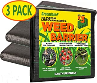 Greendale - 3 Pack of 4 Foot x 10 Foot Sheets - Landscape Weed Barrier Fabric (120 Square Feet of Total Coverage) - Heavy ...