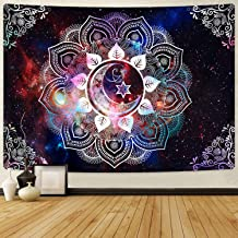 Likiyol Moon Star Tapestries Celestial Galaxy Starry Tapestry Psychedelic Trippy Tapestry Hippie Boho Mandala Tapestry for Room (Multi, 51.2 x 59.1 inches)