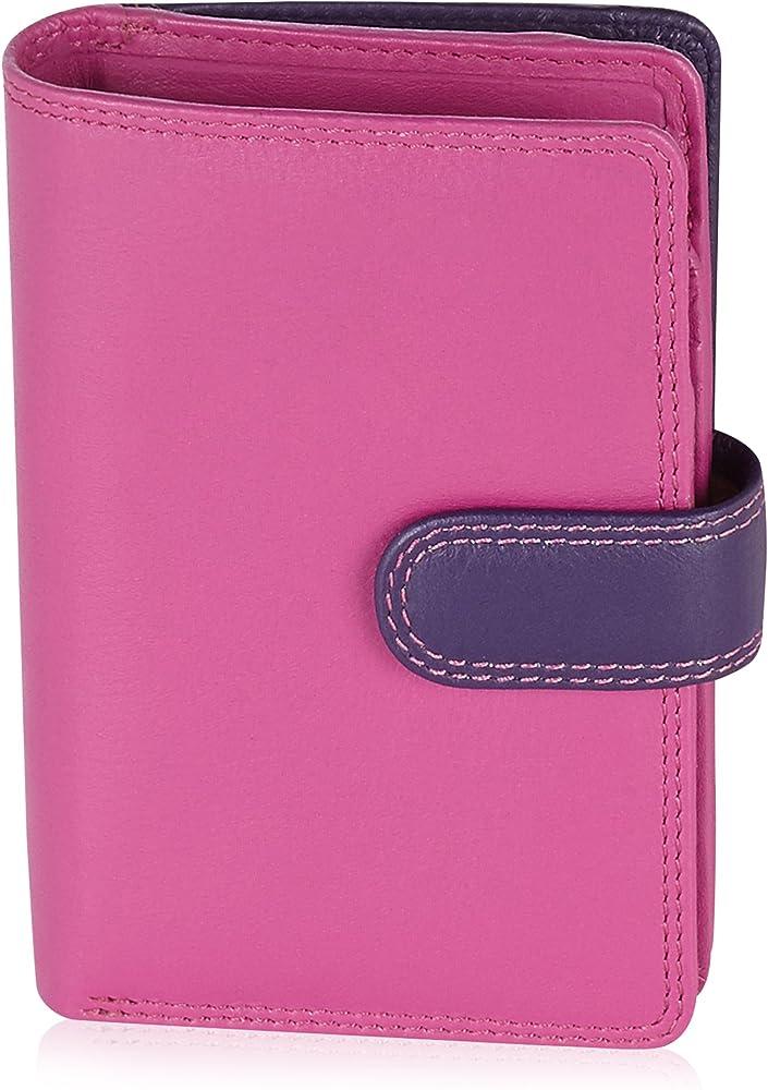 Visconti portafoglio, porta carte di credito di pelle, da donna, a piegatura doppia , protezione rfid, rosa