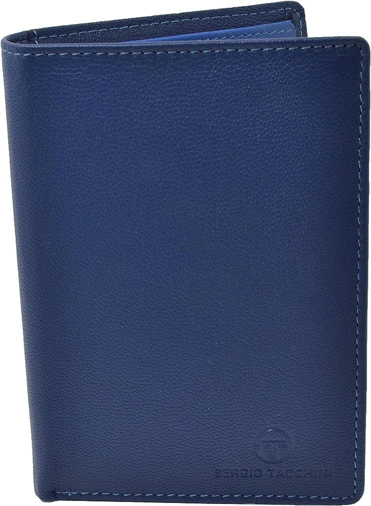 SERGIO TACCHINI, Portafoglio per Uomo, In Vera Pelle, Interno Multicolore, blu verticale