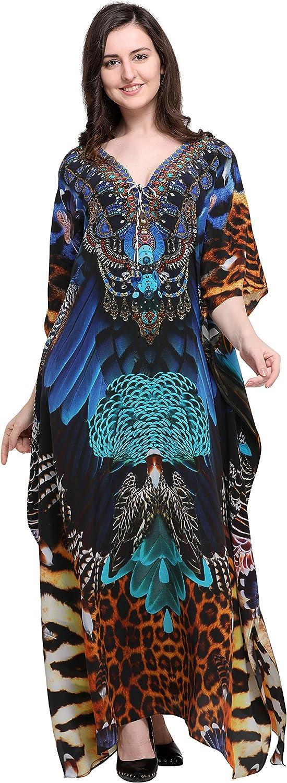 Kaftanish  Brown Pure Silk  Animal Print V Neck with Tie Up Long  Kaftan
