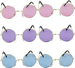 John Lennon Glasses - (Pack of 6) Retro Hippy Glasses Circle Fashion Sunglasses 60's and 70's Round Costume Style Sun Glasses by Bedwina