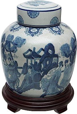 "10"" Ladies Blue & White Porcelain Ginger Jar"