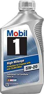 Mobil 1 (120455-6PK High Mileage 5W-20 Motor Oil - 1 Quart, (Pack of 6)