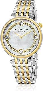 ساعة بعرض انالوج وسوار ستانلس ستيل ومينا فضي للنساء من ستيرلينج - طراز 716.02