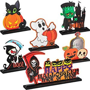 Yalikop 6 Pieces Halloween Table Decorations Halloween Table Centerpieces Pumpkin Wooden Decorations for Candy Day Halloween Party Table Dinner Room Decorations, 6 Styles