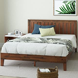 Zinus Vivek 12 Inch Deluxe Wood Platform Bed with Headboard / No Box Spring Needed / Wood Slat Support / Antique Espresso ...