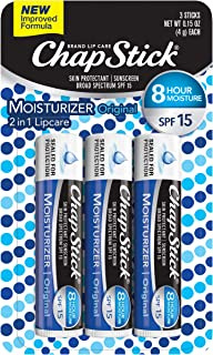 ChapStick Lip Moisturizer and Skin Protectant (Original Flavor, 1 Blister 3 Count) Lip Balm Tube, Sunscreen, SPF 15, 3 Count (Pack of 1)