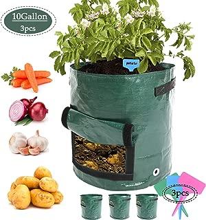 3pcs 10Gallon Potato Planter Bag,Garden Planting Grow Bags with Access Flap for Harvesting,Vegetable Planter Holes for Drainage,Durable Planter Bags with Handles for Vegetables (3, Dark Green-2)
