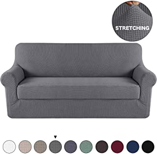 Grey Sofa Slipcover Couch Cover 2 Piece With Separate Cushion Cover 3 Seater Couch Slipcover Stretch Stylish Furniture Cover/Protector with Spandex Jacquard Small Check (Sofa, Charcoal Gray)