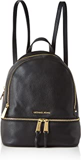 Rhea Zip Medium Leather Backpack, Black