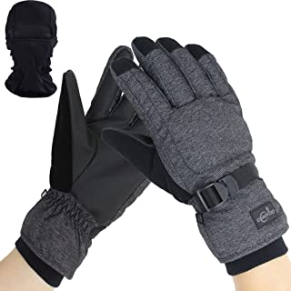 Mens Skiing Snowboarding Gloves Waterproof Cold Winter Melange Glove and Balaclava Set