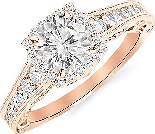 2.25 Carat 14K White Gold Vintage Halo Style Channel Set Round Brilliant Diamond Engagement Ring Milgrain with a 1.5 Carat Moissanite Center