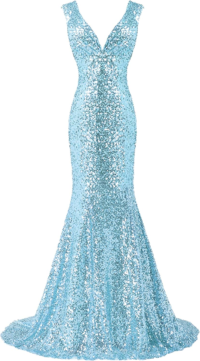 Bess Bridal Women's Sequined Deep V Neck Lace Up Mermaid Prom Evening Dress