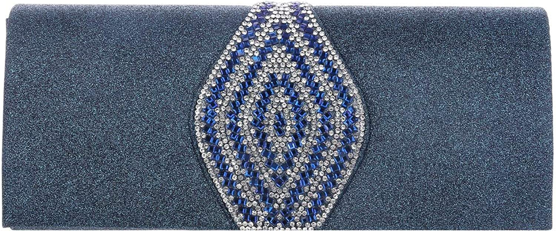 Damara Womens Long Glitter Magnet Snap Evening Clutch Bags