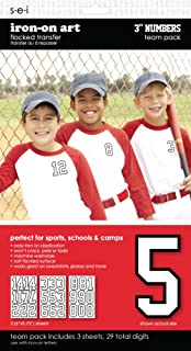 SEI 3-Inch Iron-On Team Pack Athletic Number Transfers, White, 3-Sheet