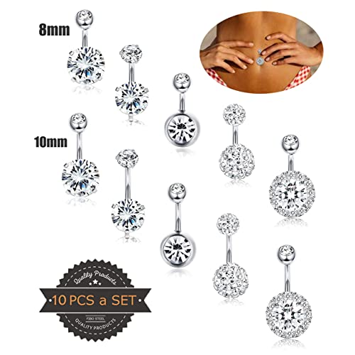 Surgical Steel Navel Rings Crystal Belly Button Ring Bar Piercing Jewelry SK
