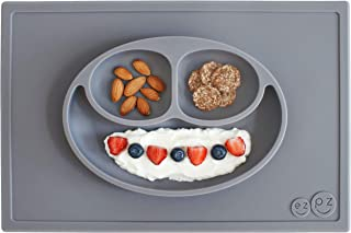 ezpz Happy Mat - One-Piece Silicone placemat + Plate (Gray)