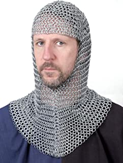 Awesome Chainmail Hood, Zinc Plated Cut-out Medieval Larp Viking Fancy Dress Necklace Shirt Necklace Earrings Chainmail Coif