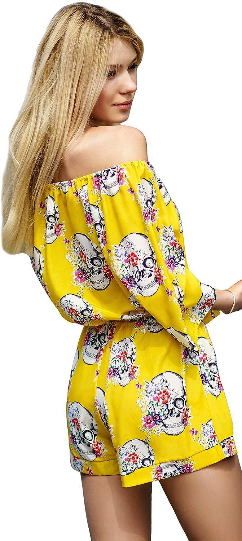 Van Gils Women Romper Jumpsuit Skulls and Flowers Yellow