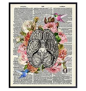 Floral Brain w/Hummingbirds Wall Art Decor - Vintage Rustic Shabby Chic Poster for Bathroom, Bedroom, Living Room, Doctor or Medical Office - Goth Gift for Nurse Practitioner, RN, CNA, Psychologist