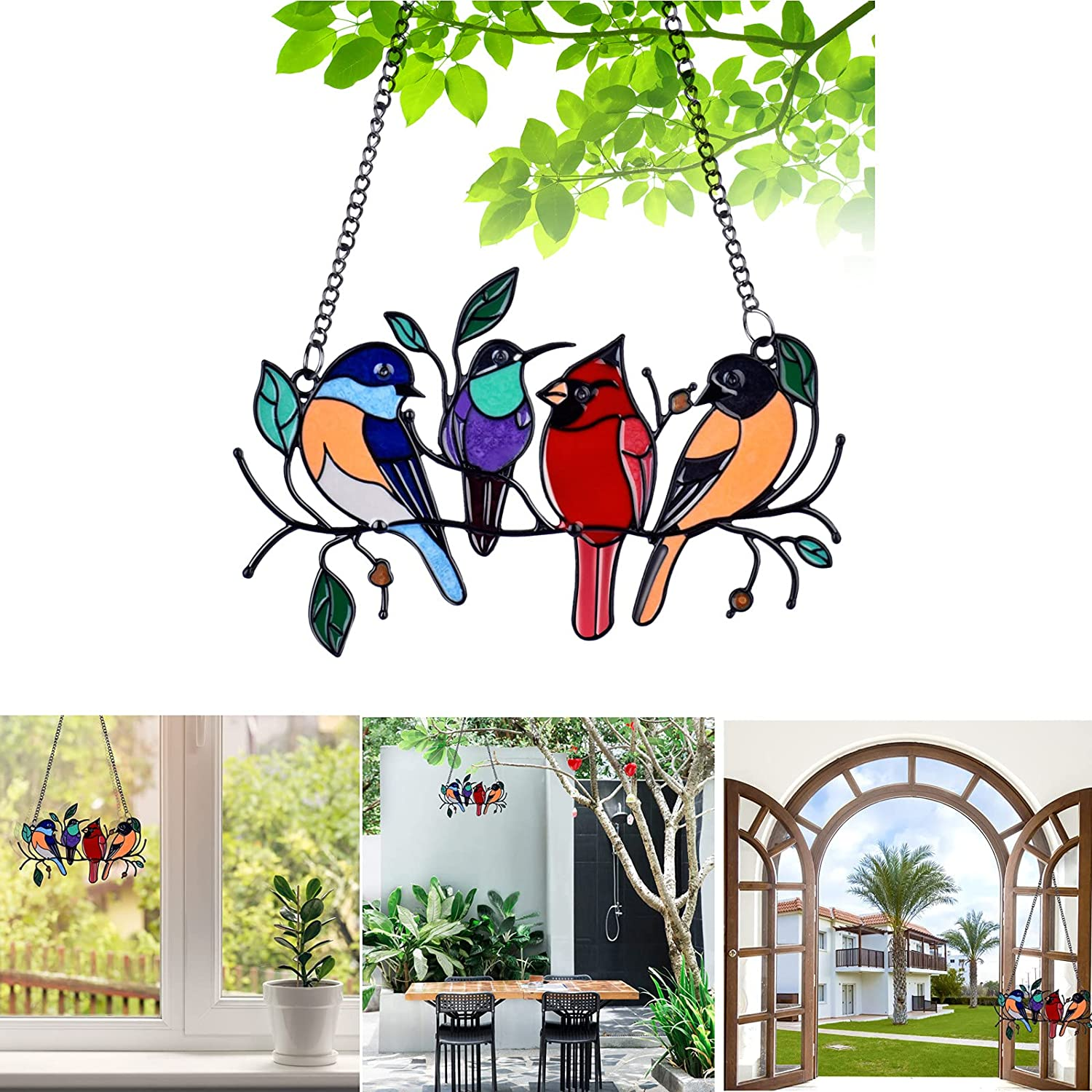 Bird Suncatcher for Windows, Window Hangings Suncatchers Panel with Multicolor Birds on a Wire High,Home Decoration Hummingbird with Chain