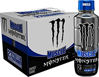 Muscle Monster Vanilla Energy Shake, Protein + Energy Drink, 15 ounce (Pack of 12)