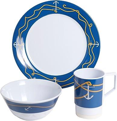 Galleyware 12 Piece Anchorline Melamine Non-Skid Dinnerware Set