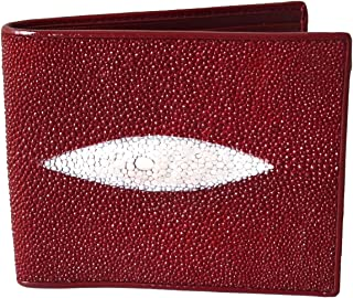 Authentic Stingray Skin Men's Bifold White Pearl Eye Burgundy Red Wallet