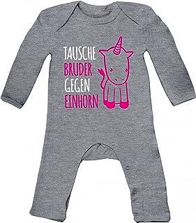 ShirtStreet süßes Unicorn Geburt Geburtstag Baby Strampler Langarm Schlafanzug Jungen Mädchen Tausche Bruder gegen Einhorn Premium