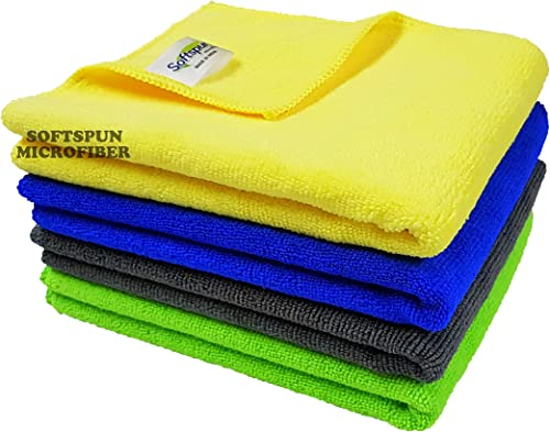 SOFTSPUN Microfiber Cloth (4pcs - 40x60cms -340GSM) Multi-colour, Super Soft Absorbent Cleaning Towels Cleans & Polis...