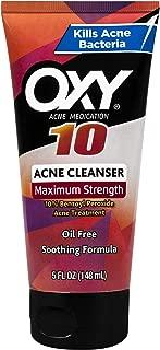 OXY Acne Medication Face Wash Maximum Action with Maximum Strength 10% Benzoyl Peroxide (5 FL OZ)