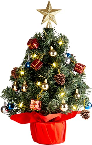 popular Solpex Tabletop Christmas Tree, Artificial Christmas Tree lowest wholesale Battery Operated Lighted (Red) outlet sale