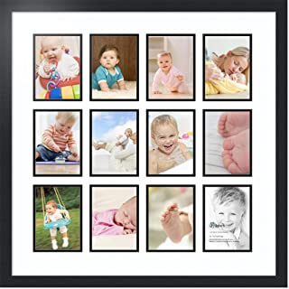 ArtToFrames Collage Photo Frame Double Mat with 12 - 5x7 Openings and Satin Black Frame