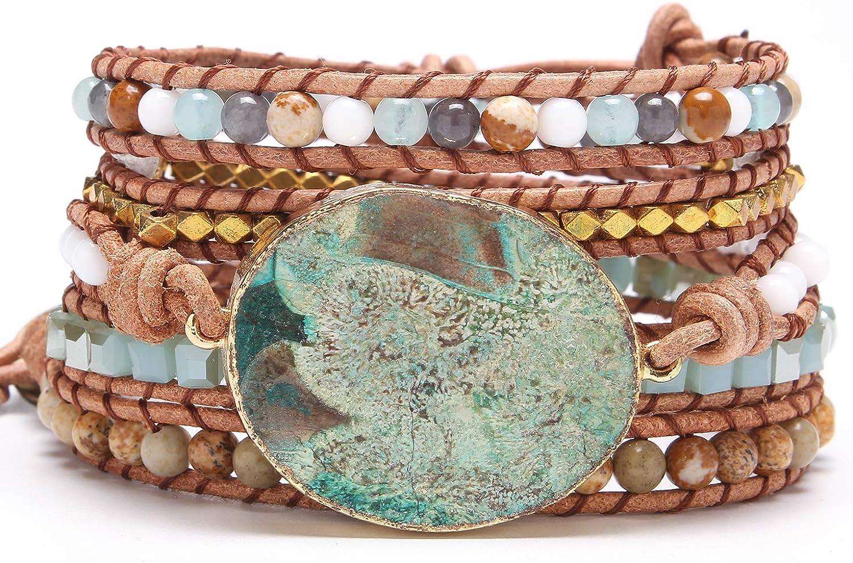 Bonnie Boho Bracelets Azure Gilded Natural Stone Beaded Druzy Tr