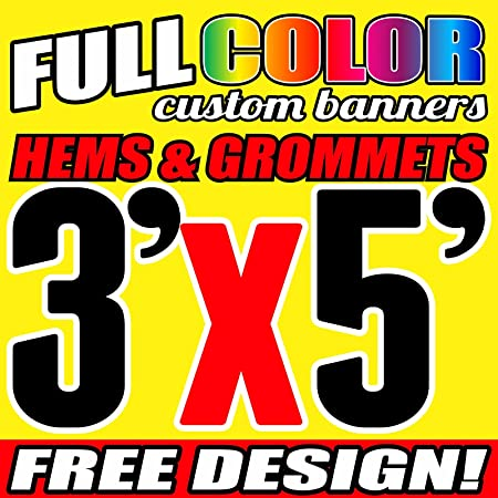 Free Basic Design Included prc 8/' x 3/' Custom Vinyl Banner 13oz Full Color