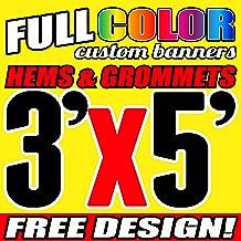 3' X 5' Full Color Printed Custom Banner 13oz Vinyl Hems & Grommets Free Design By BannersOutlet USA