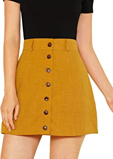afe18917d SheIn Women's Summer Casual Above Knee Button Up A Line Short Skirt