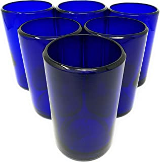 Hand Blown Mexican Drinking Glasses – Set of 6 Cobalt Water Glasses (14 oz each)