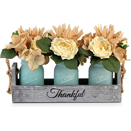 Gbtroo Mason Jar Table Centerpiece Rustic Coffee Table Decor With 2 Mason Jars Table Centerpieces For Dining Room Decoration Living Room And Kitchen Table Decorations Cute Flower