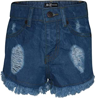Kids Girls Shorts Light Blue Denim Bermuda Skinny Ripped Jean Summer Chino Short