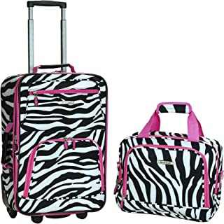 Luggage 2 Piece Printed Luggage Set, Pinkzebra, One Size