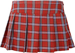 TiaoBug Women Role Play Mini Plaid Skirt Polyester Cotton Sexy Schoolgirl Lingerie Red Large