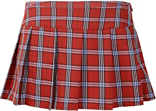 TiaoBug Women Role Play Mini Plaid Skirt Polyester Cotton Sexy Schoolgirl Lingerie Red Small