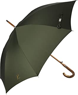 Balios (Designed in Britain Prestige Walking Stick Umbrella—Luxury Chestnut Wood Crook Handle—Bamboo Shaft—Windproof Fiberglass Frame—Auto Open 300T Finest Fabric