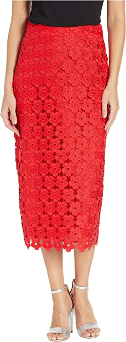 d2469d10e77a7 True Red. 539. Juicy Couture. Floral Guipure Midi Skirt